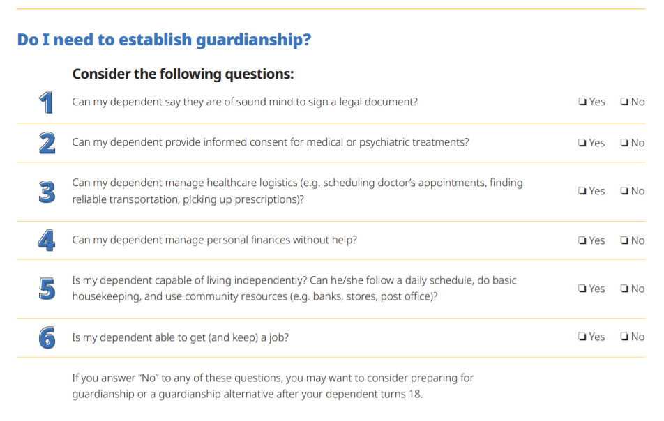A checklist of six yes or no questions with the title, Do I need to establish guardianship? Click or tap to download the full PDF checklist