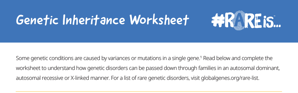 A screenshot of a Genetic Inheritance Worksheet. Click to open the full PDF document.